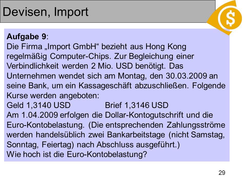 Devisen, Import