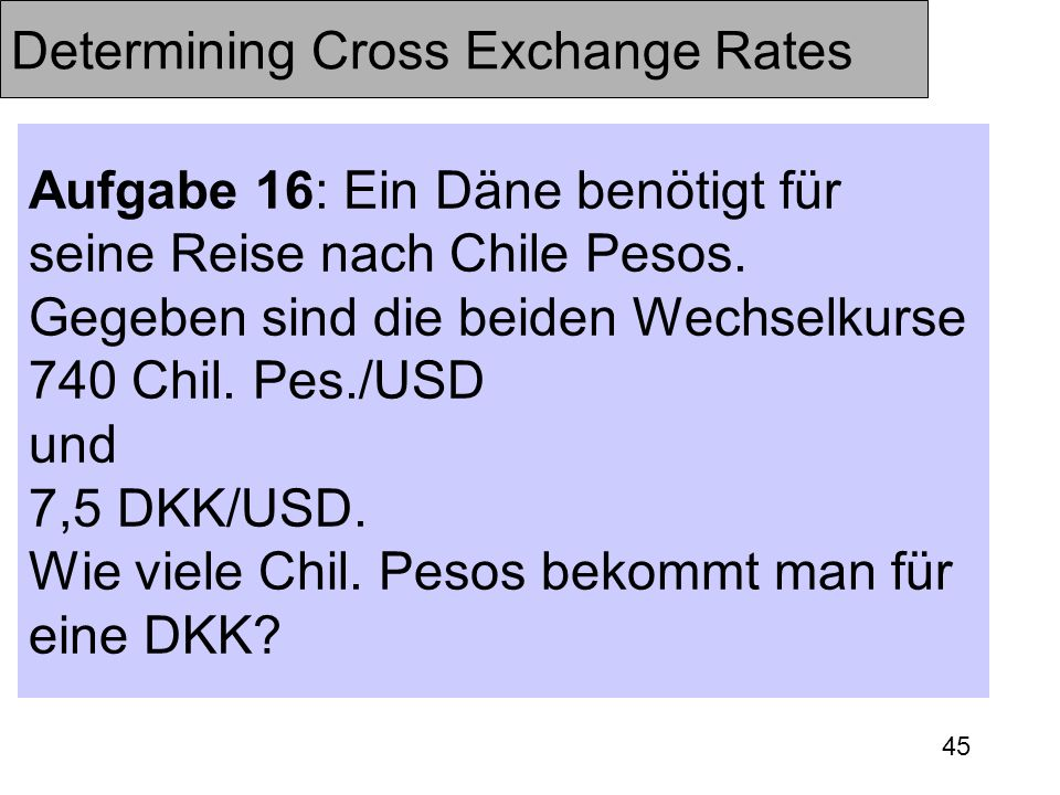 Determining Cross Exchange Rates