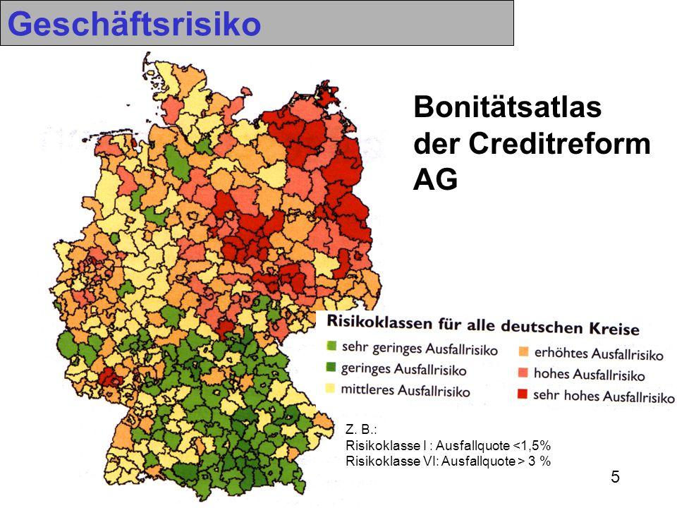 Geschäftsrisiko Bonitätsatlas der Creditreform AG Z. B.:
