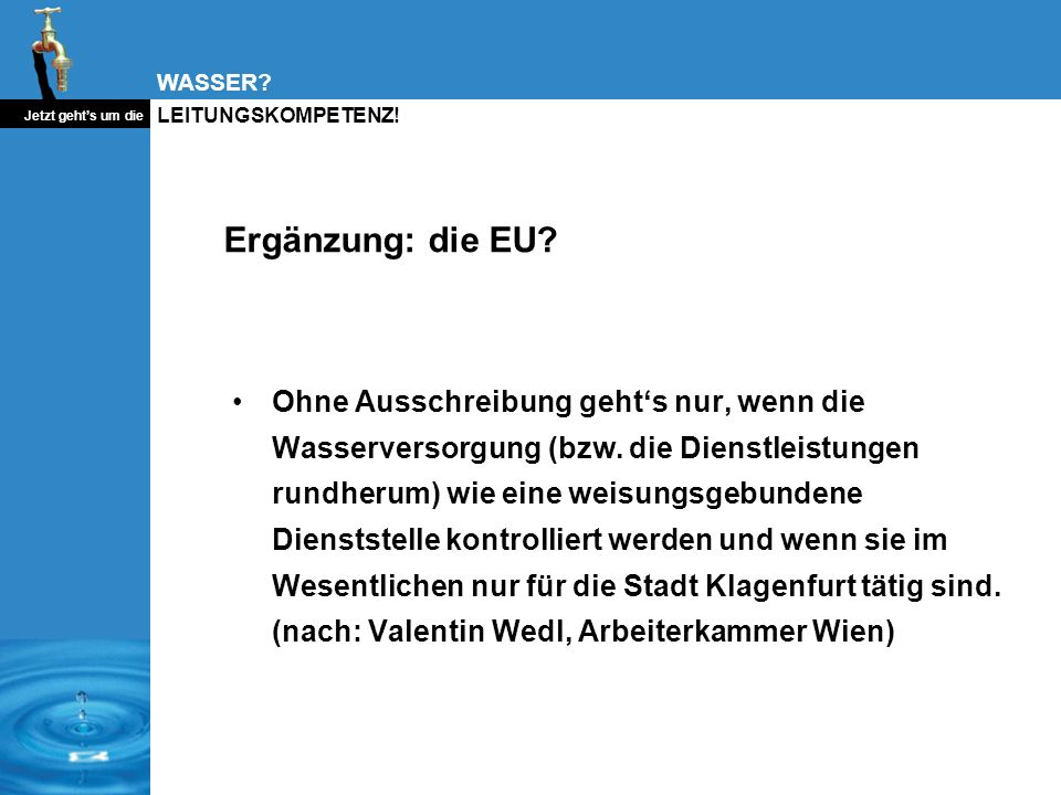 Ergänzung: die EU