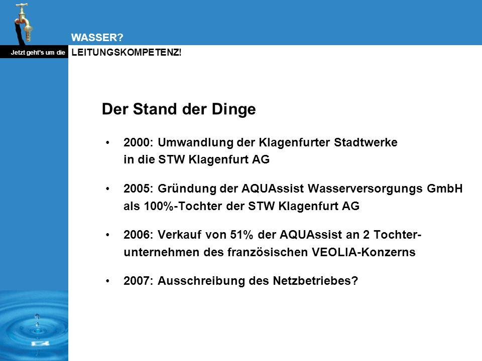 Der Stand der Dinge2000: Umwandlung der Klagenfurter Stadtwerke in die STW Klagenfurt AG.