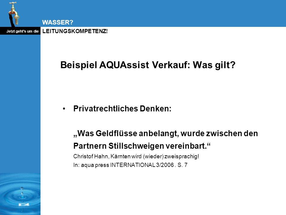 Beispiel AQUAssist Verkauf: Was gilt