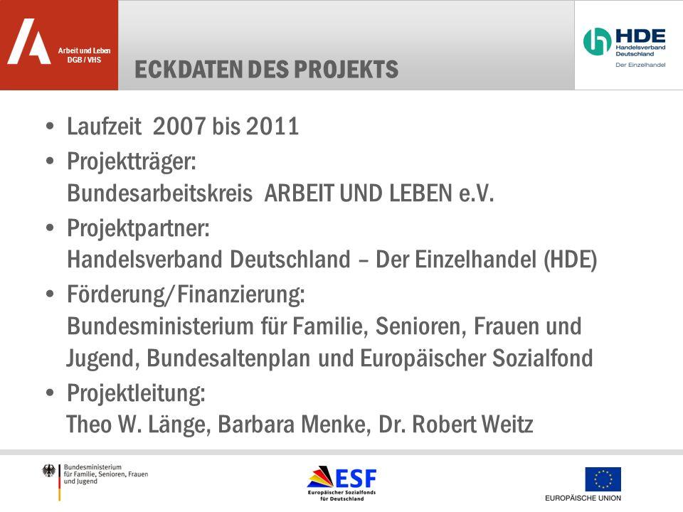 Eckdaten des Projekts Laufzeit 2007 bis 2011. Projektträger: Bundesarbeitskreis ARBEIT UND LEBEN e.V.