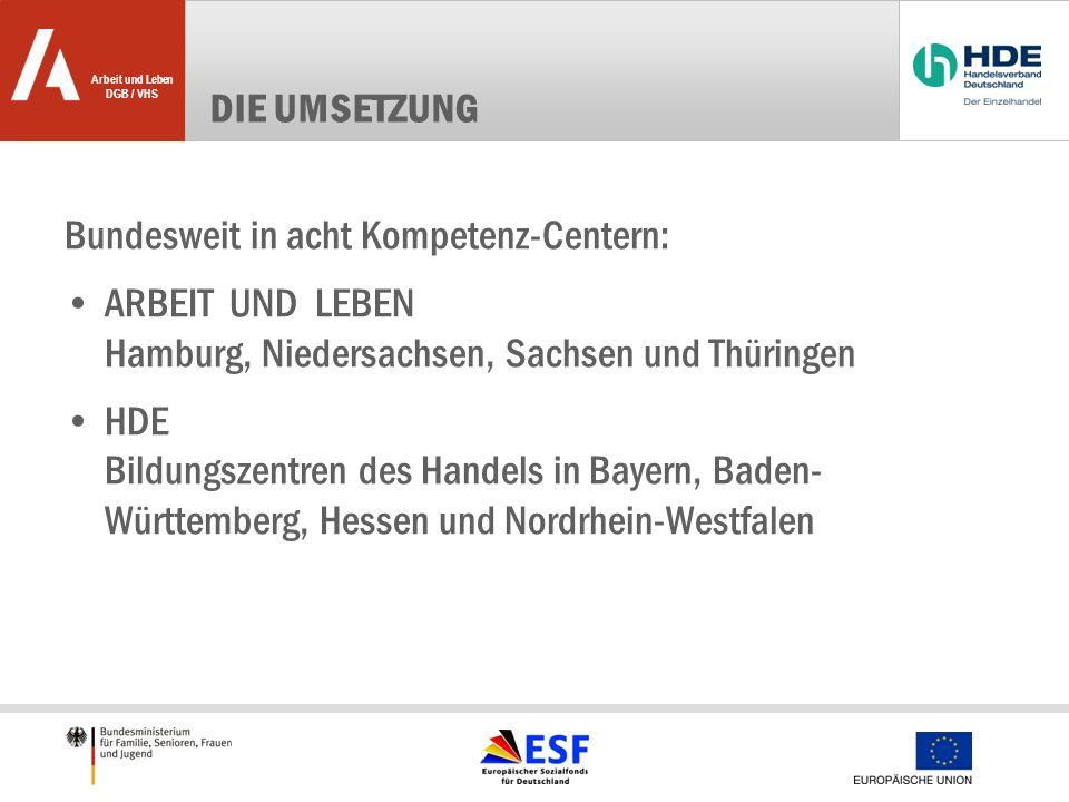 Die Umsetzung Bundesweit in acht Kompetenz-Centern: ARBEIT UND LEBEN Hamburg, Niedersachsen, Sachsen und Thüringen.