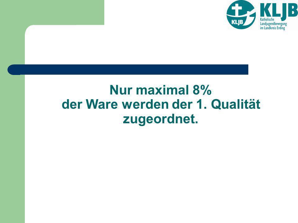Nur maximal 8% der Ware werden der 1. Qualität zugeordnet.