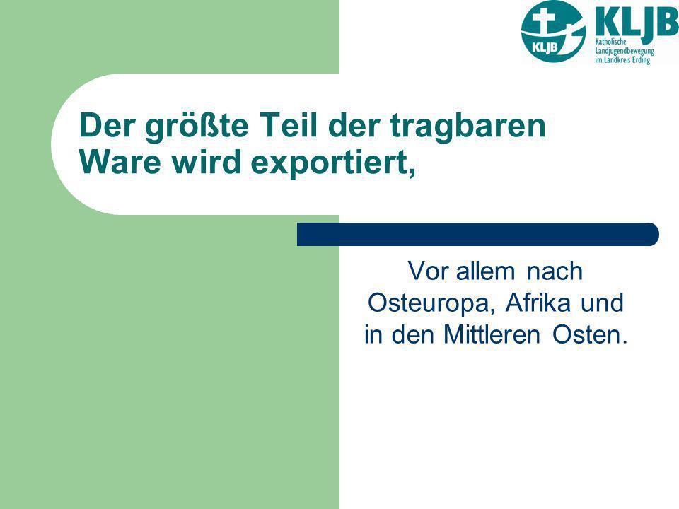 Der größte Teil der tragbaren Ware wird exportiert,