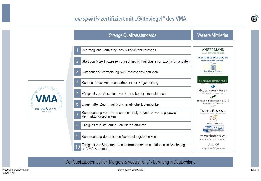 "perspektiv zertifiziert mit ""Gütesiegel des VMA"