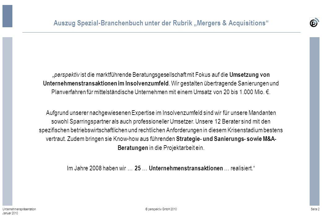 "Auszug Spezial-Branchenbuch unter der Rubrik ""Mergers & Acquisitions"