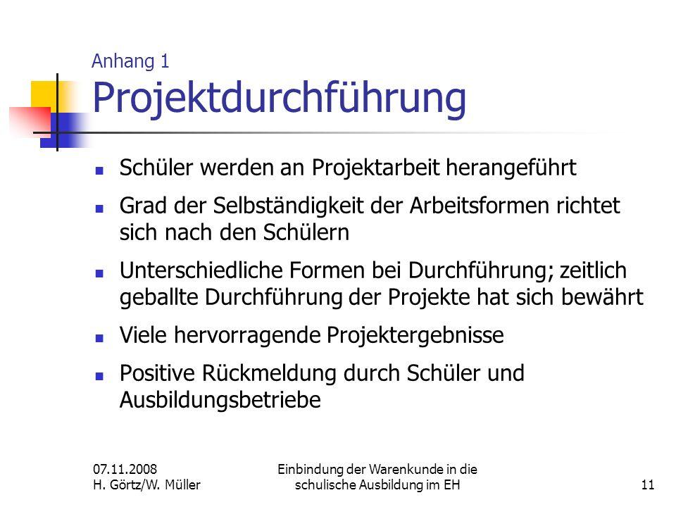 Anhang 1 Projektdurchführung