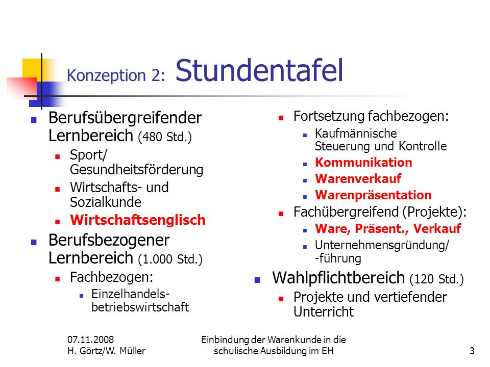 Konzeption 2: Stundentafel