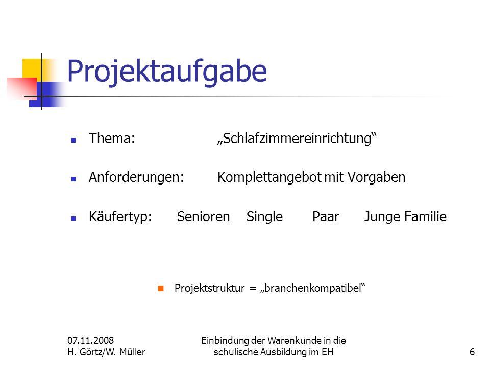 "Projektaufgabe Projektstruktur = ""branchenkompatibel"