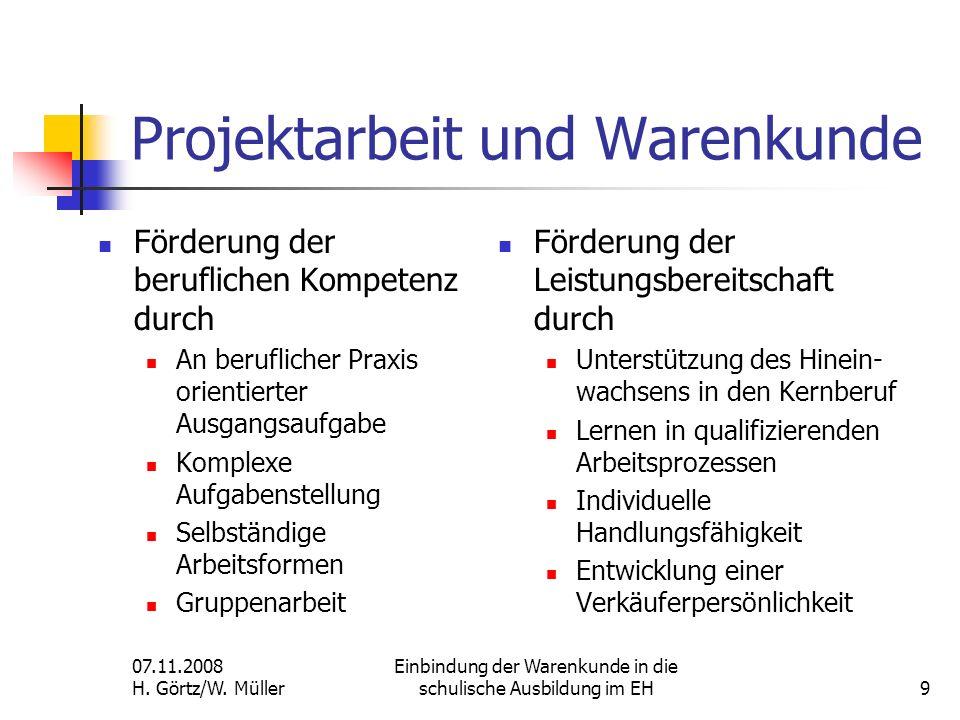 Projektarbeit und Warenkunde