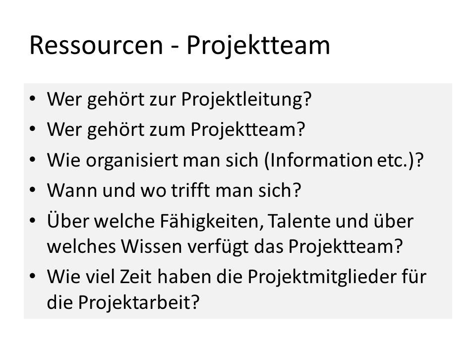 Ressourcen - Projektteam