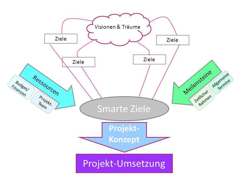 Smarte Ziele Projekt-Umsetzung Projekt-Konzept Meilensteine Ressourcen