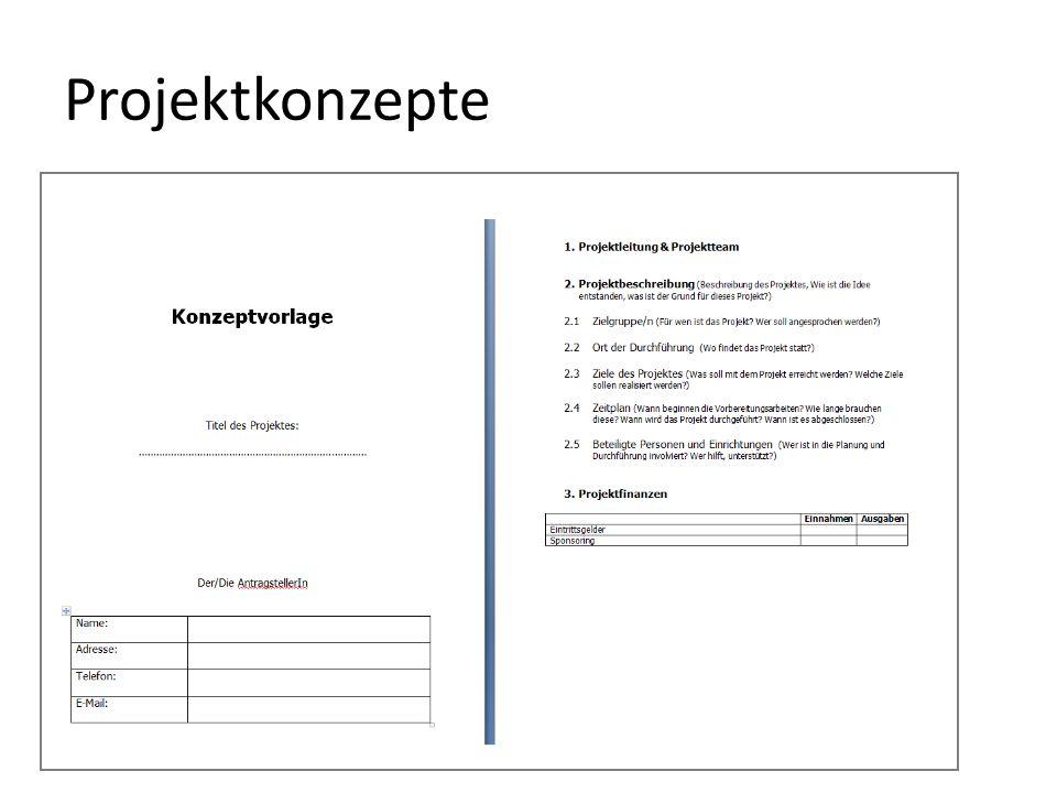 Projektkonzepte Arbeitsblatt Konzept