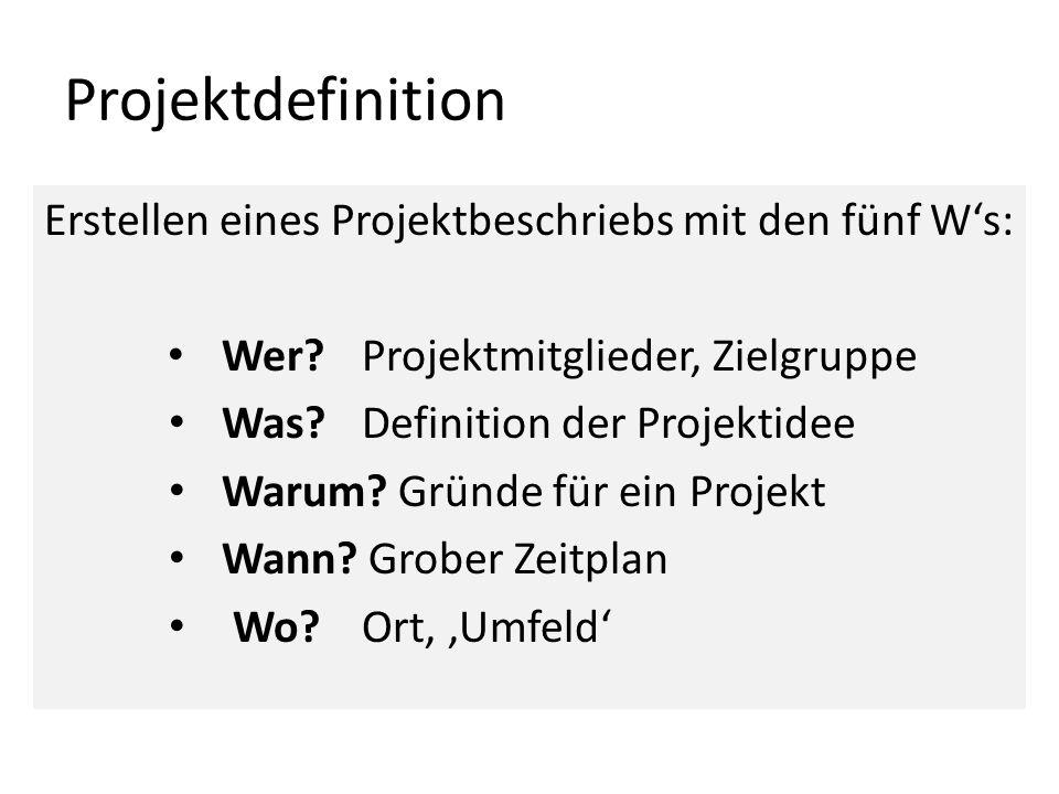 Projektdefinition Erstellen eines Projektbeschriebs mit den fünf W's: