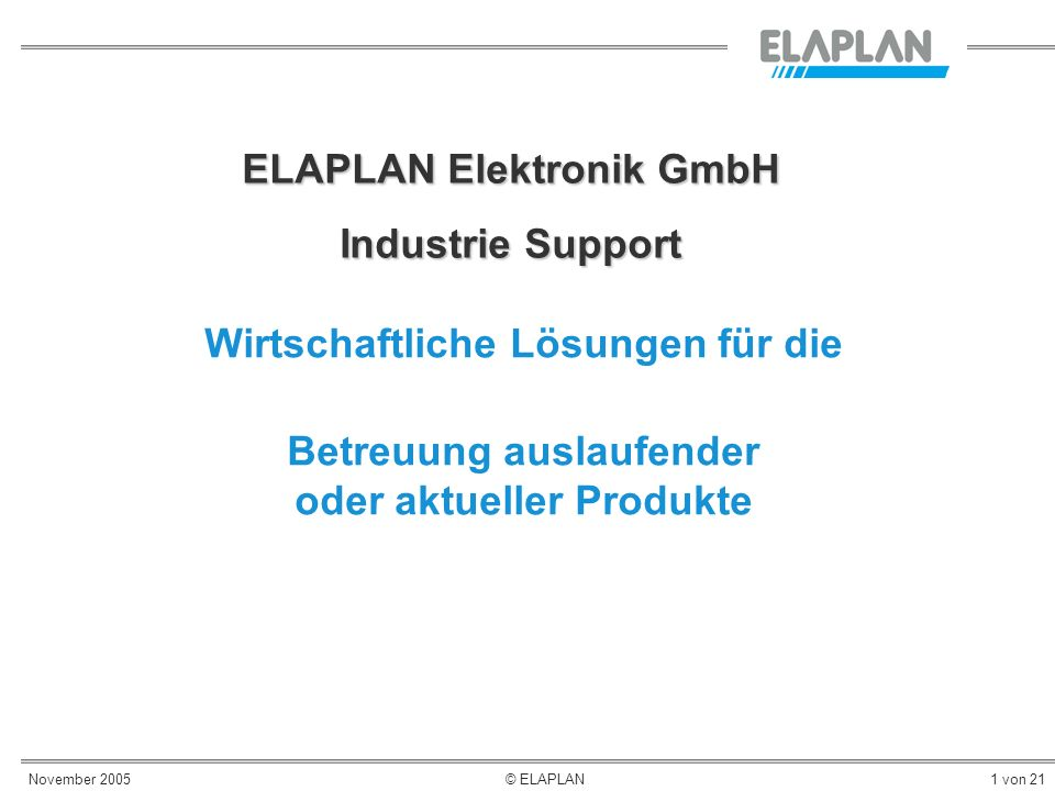 ELAPLAN Elektronik GmbH Industrie Support