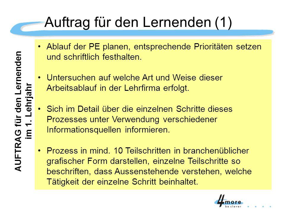 Auftrag für den Lernenden (1)