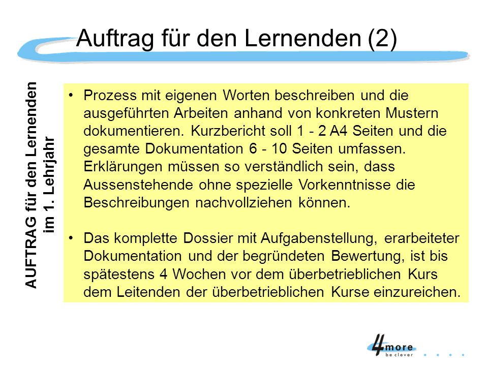 Auftrag für den Lernenden (2)