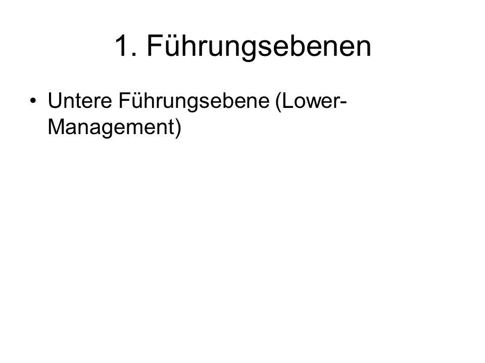 1. Führungsebenen Untere Führungsebene (Lower-Management)