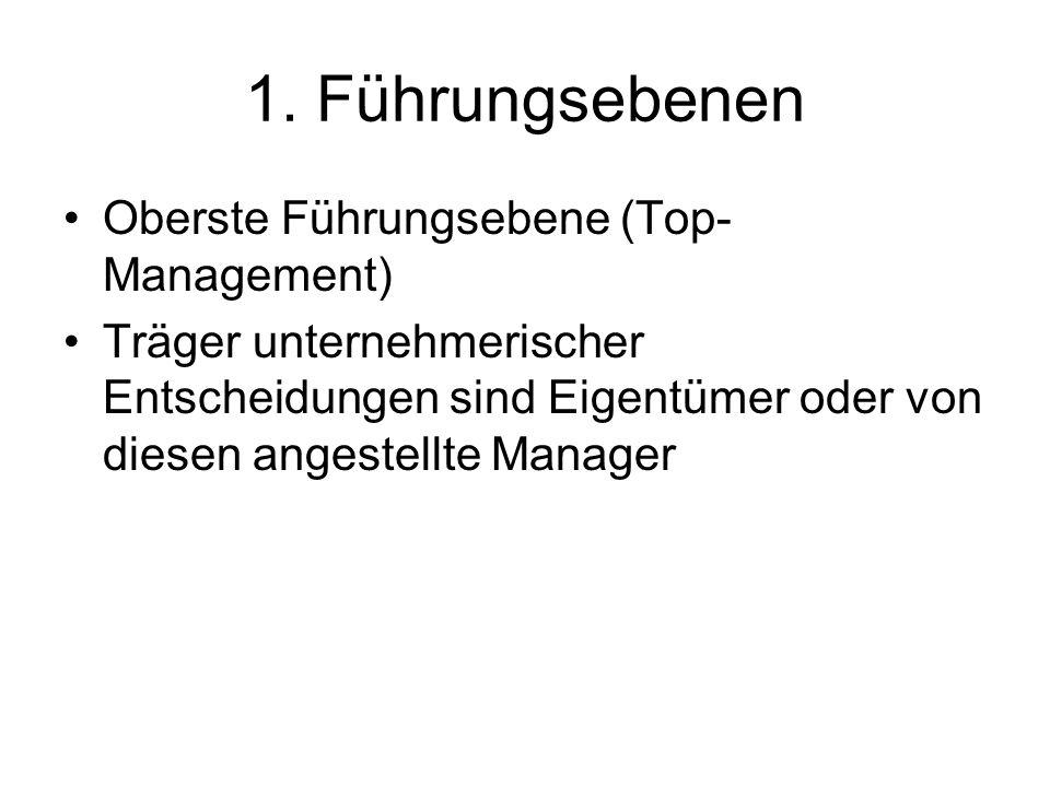 1. Führungsebenen Oberste Führungsebene (Top-Management)