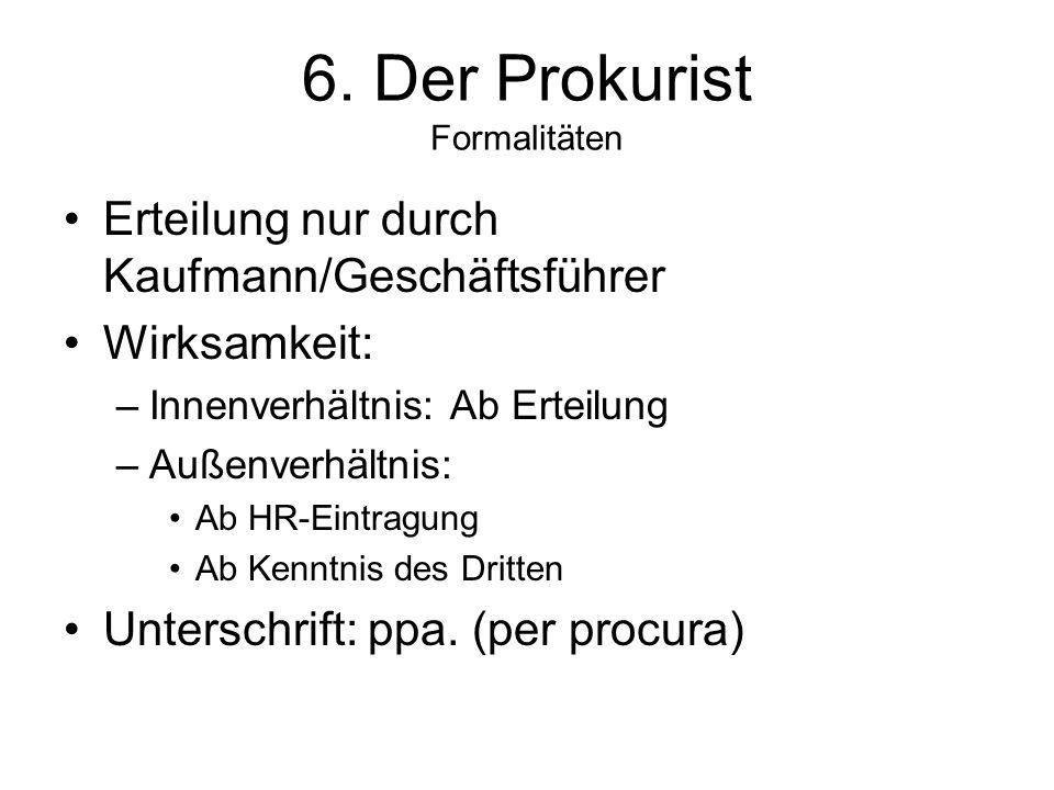 6. Der Prokurist Formalitäten