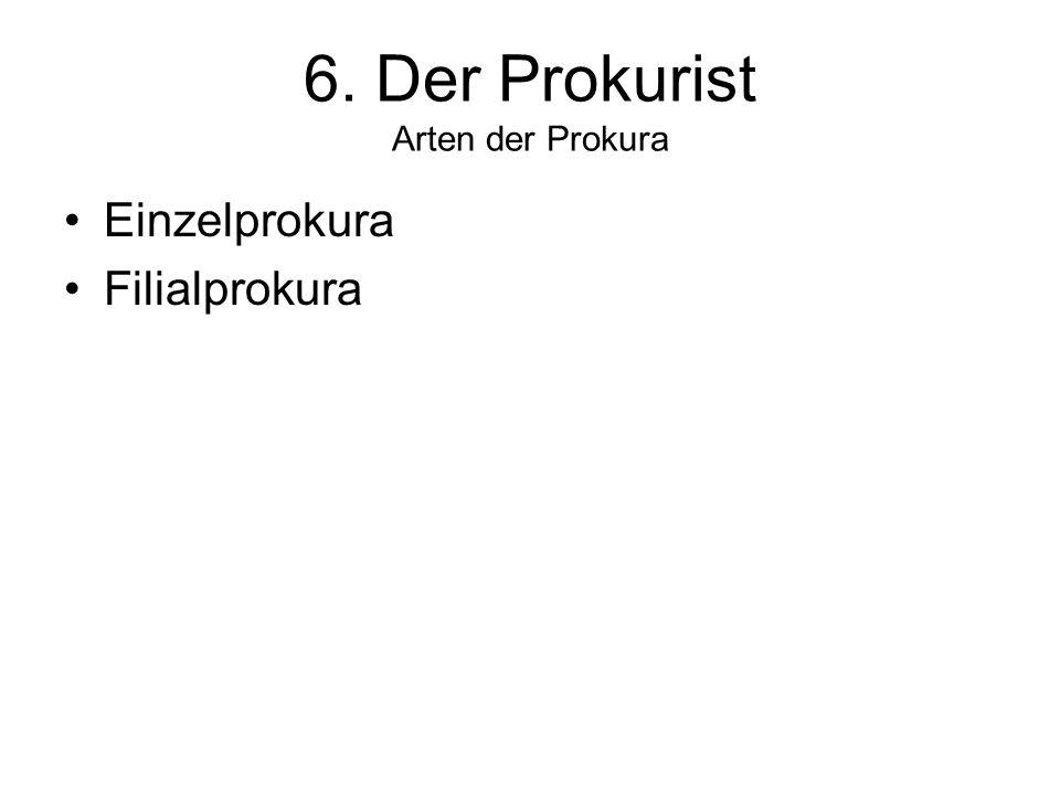 6. Der Prokurist Arten der Prokura