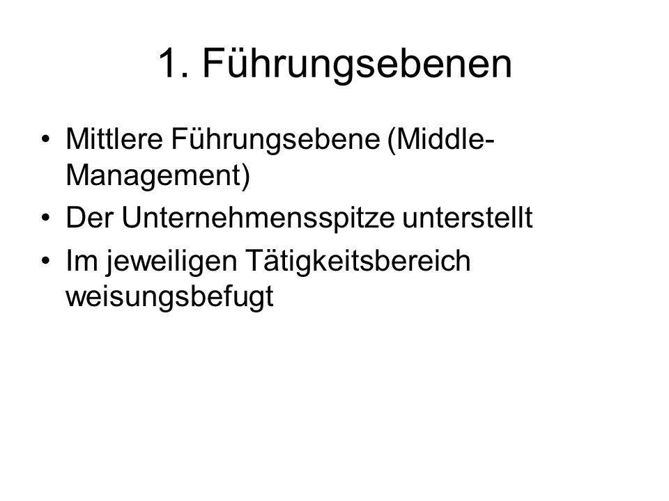 1. Führungsebenen Mittlere Führungsebene (Middle-Management)