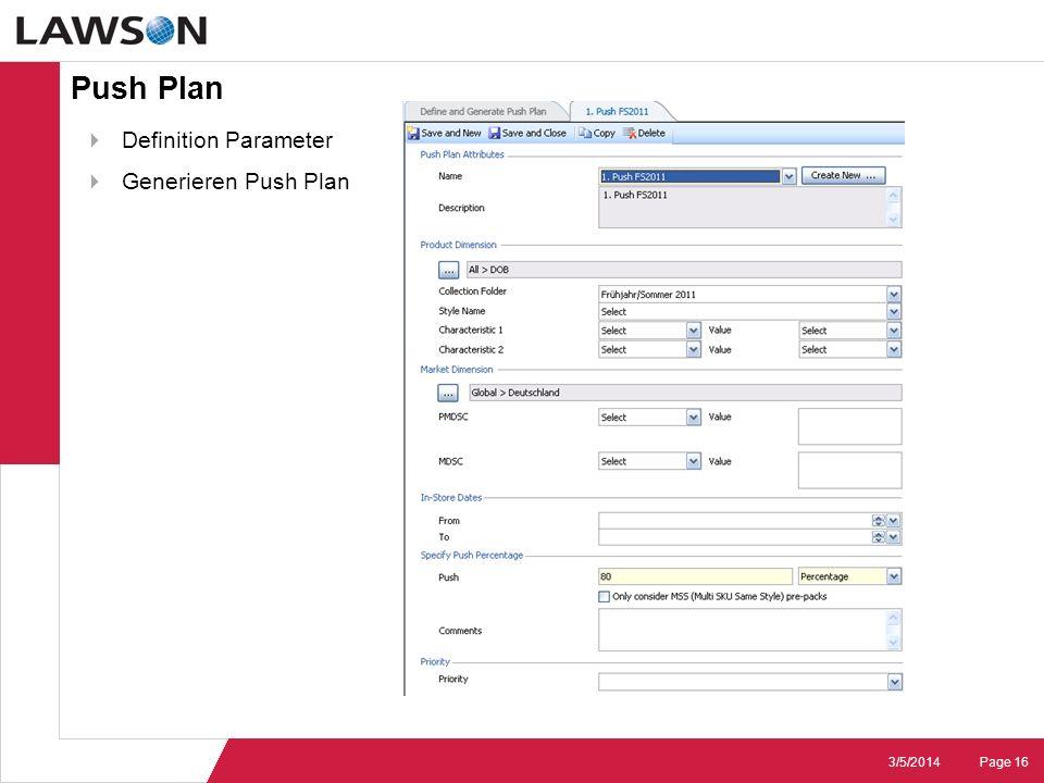Push Plan Definition Parameter Generieren Push Plan