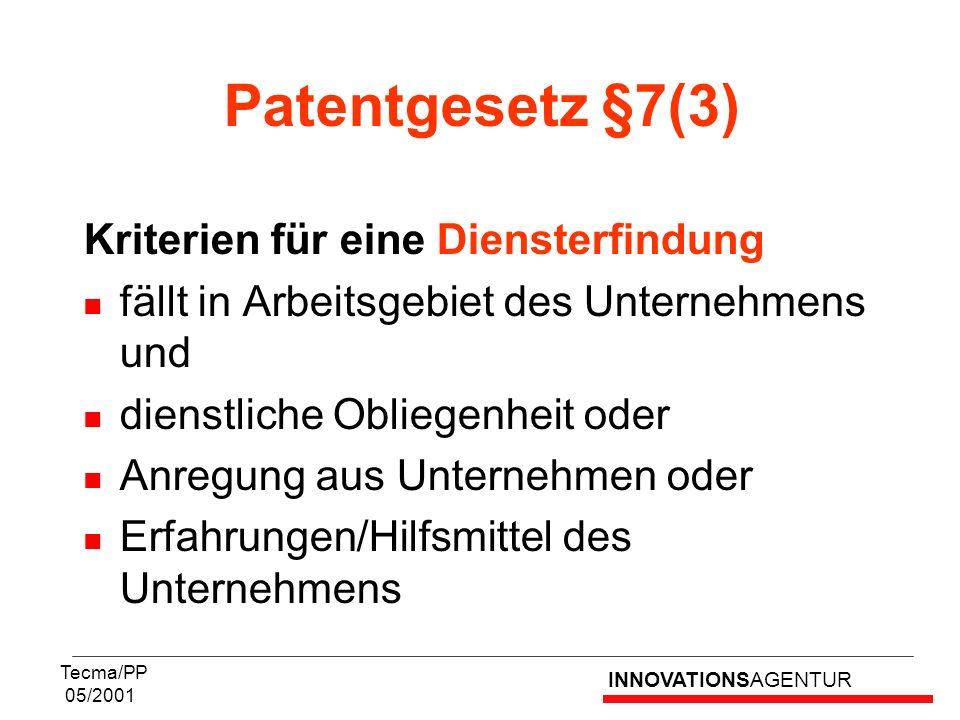 Patentgesetz §7(3) Kriterien für eine Diensterfindung