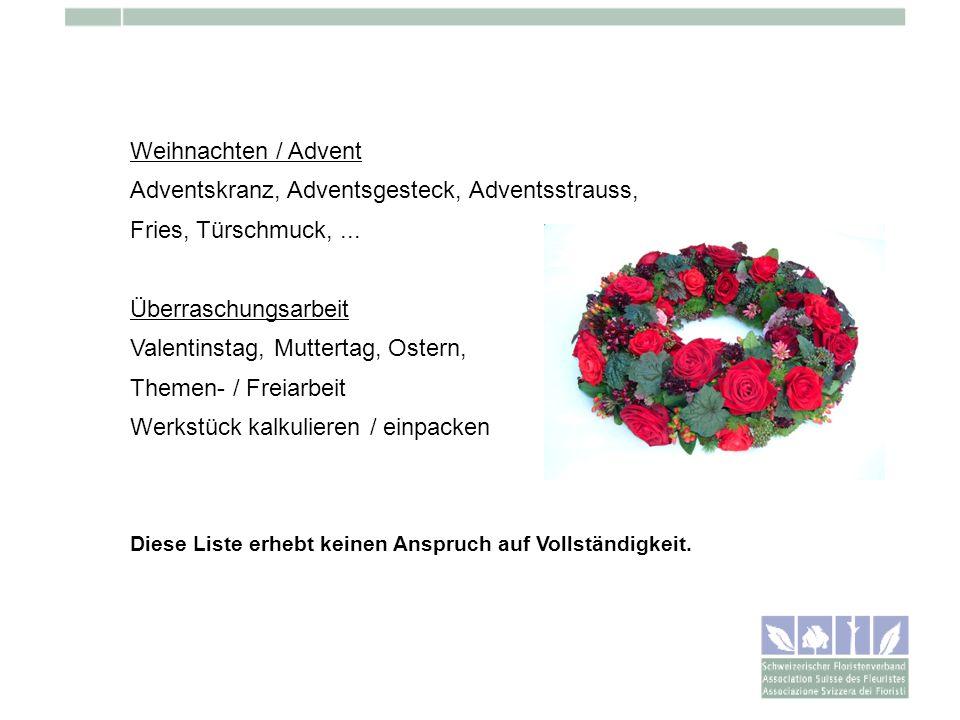 Adventskranz, Adventsgesteck, Adventsstrauss, Fries, Türschmuck, ...