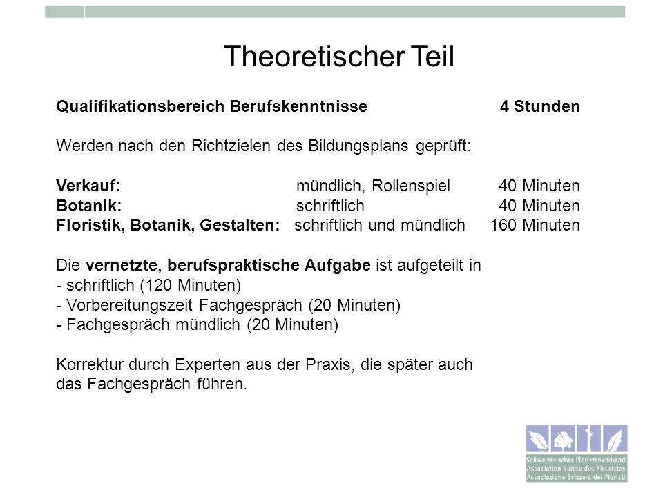 Theoretischer Teil Qualifikationsbereich Berufskenntnisse 4 Stunden