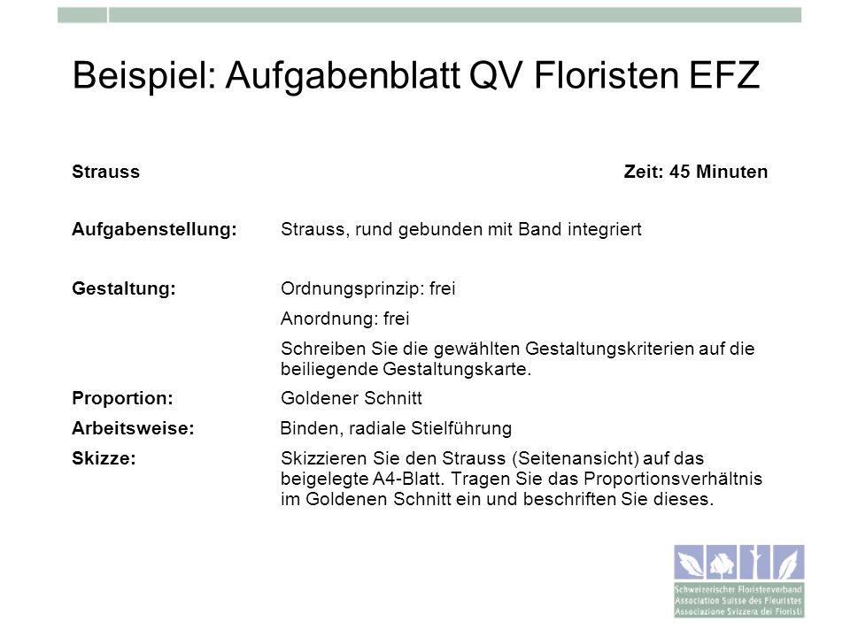 Beispiel: Aufgabenblatt QV Floristen EFZ