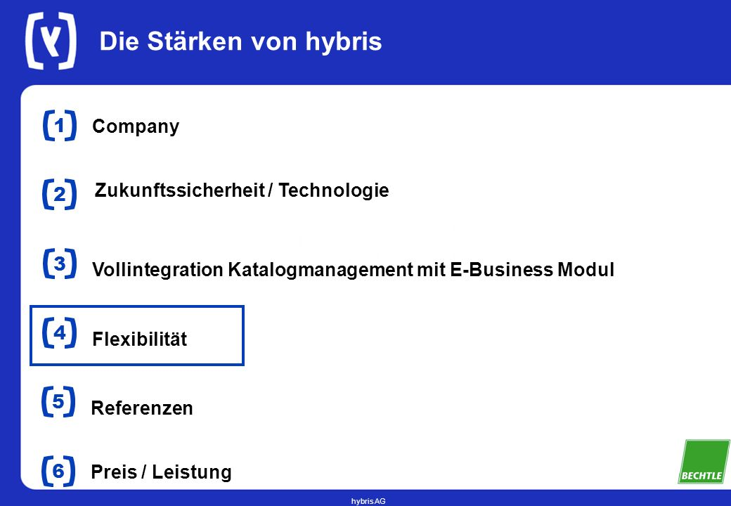 Die Stärken von hybris 1 Company 2 Zukunftssicherheit / Technologie 3