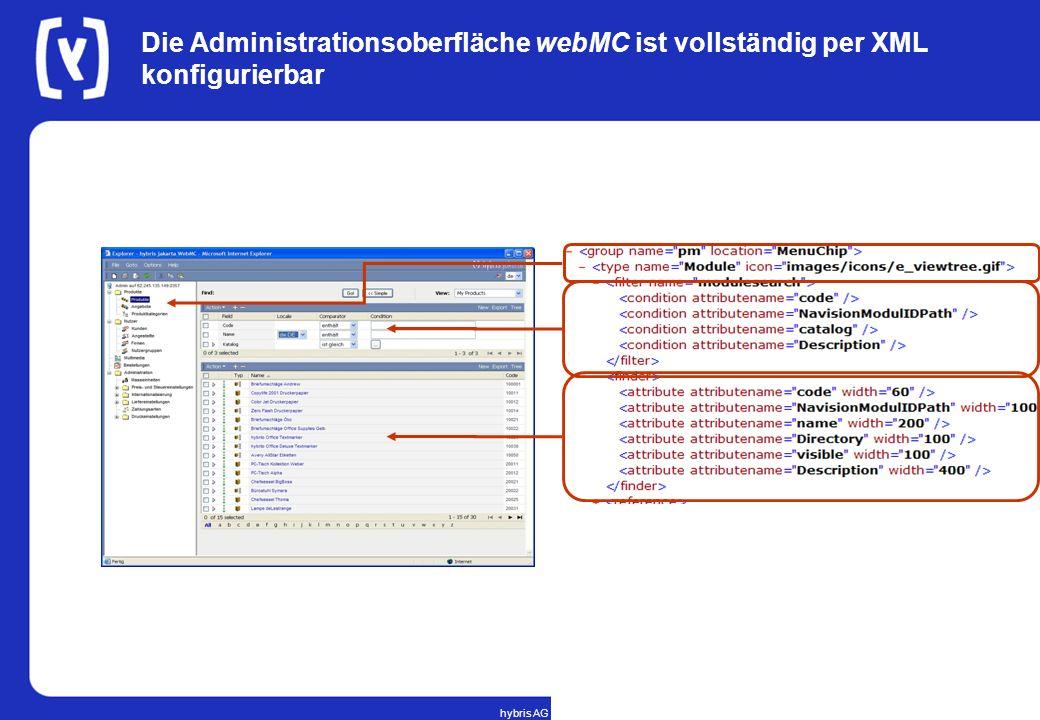 Die Administrationsoberfläche webMC ist vollständig per XML konfigurierbar