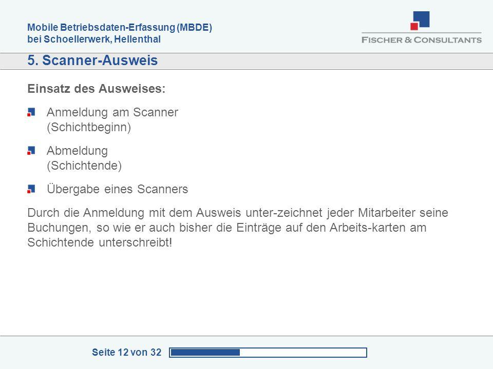 5. Scanner-Ausweis Einsatz des Ausweises: