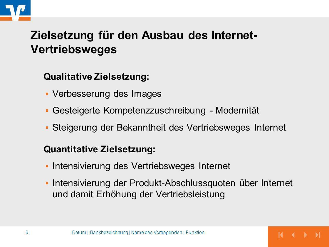 Zielsetzung für den Ausbau des Internet-Vertriebsweges