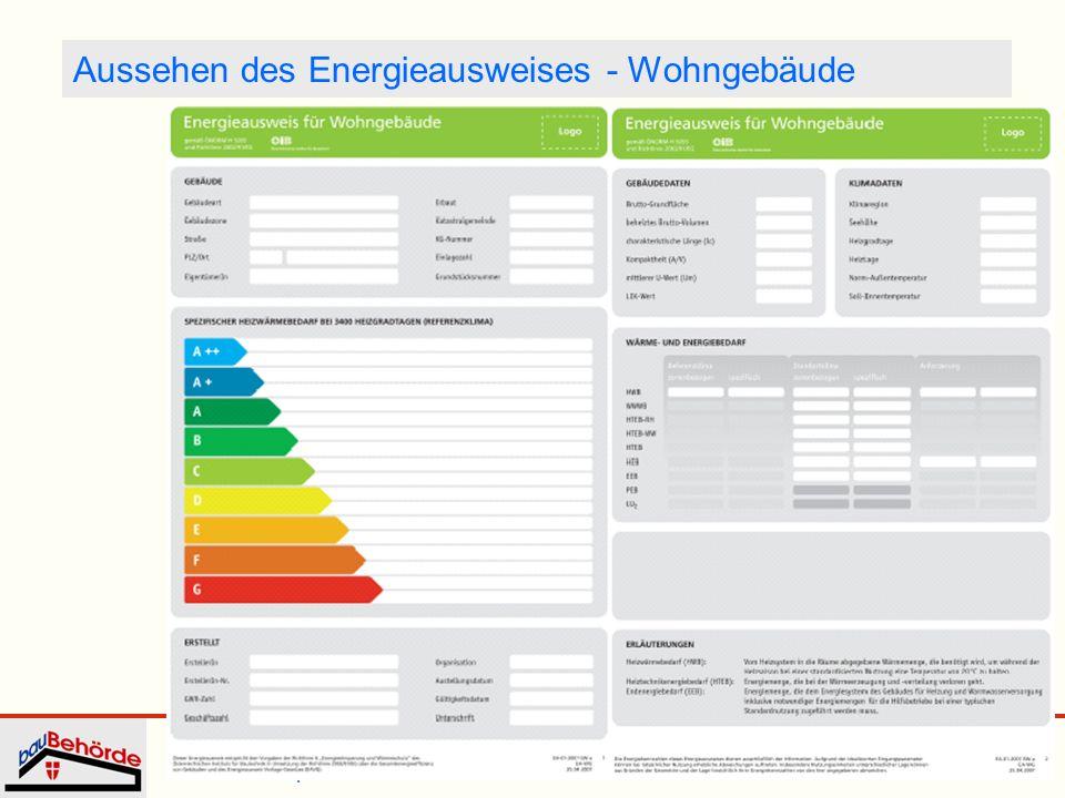Aussehen des Energieausweises - Wohngebäude