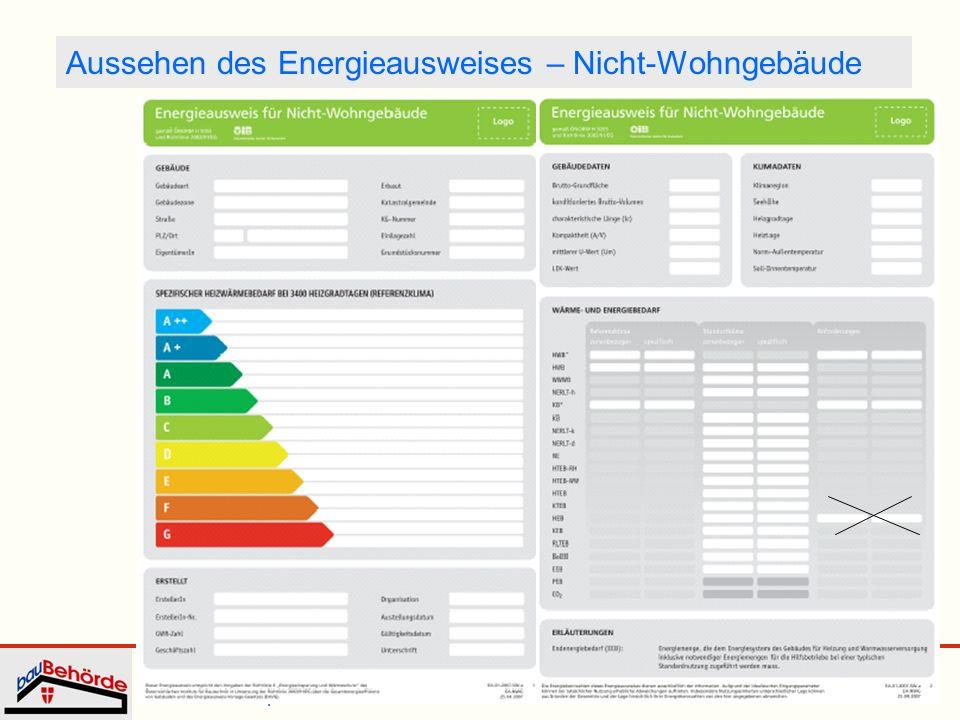 Aussehen des Energieausweises – Nicht-Wohngebäude