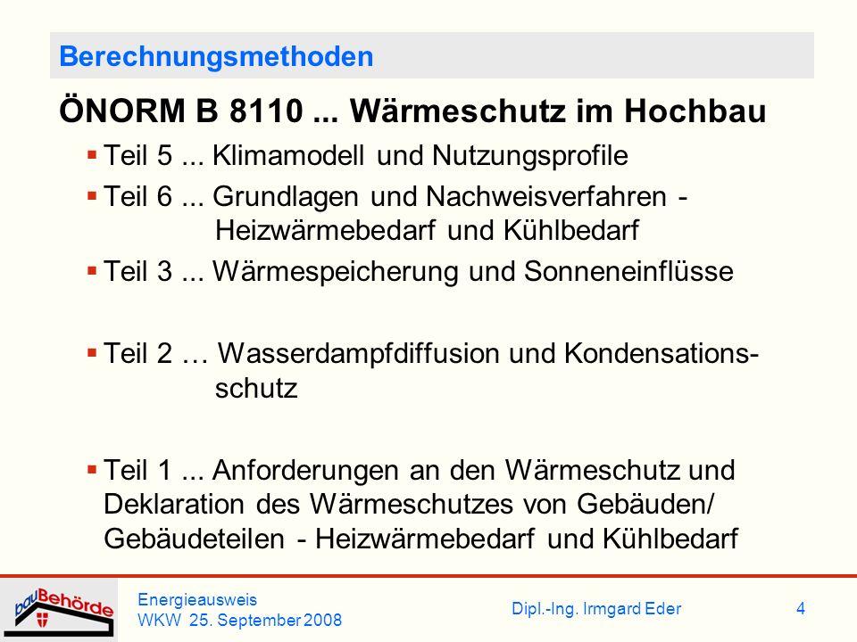 ÖNORM B 8110 ... Wärmeschutz im Hochbau