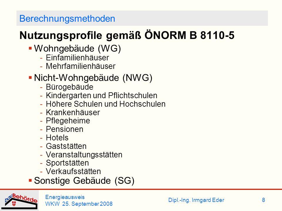 Nutzungsprofile gemäß ÖNORM B 8110-5