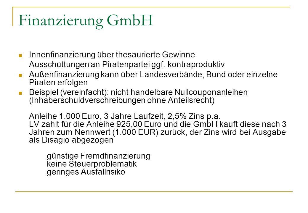 Finanzierung GmbH Innenfinanzierung über thesaurierte Gewinne