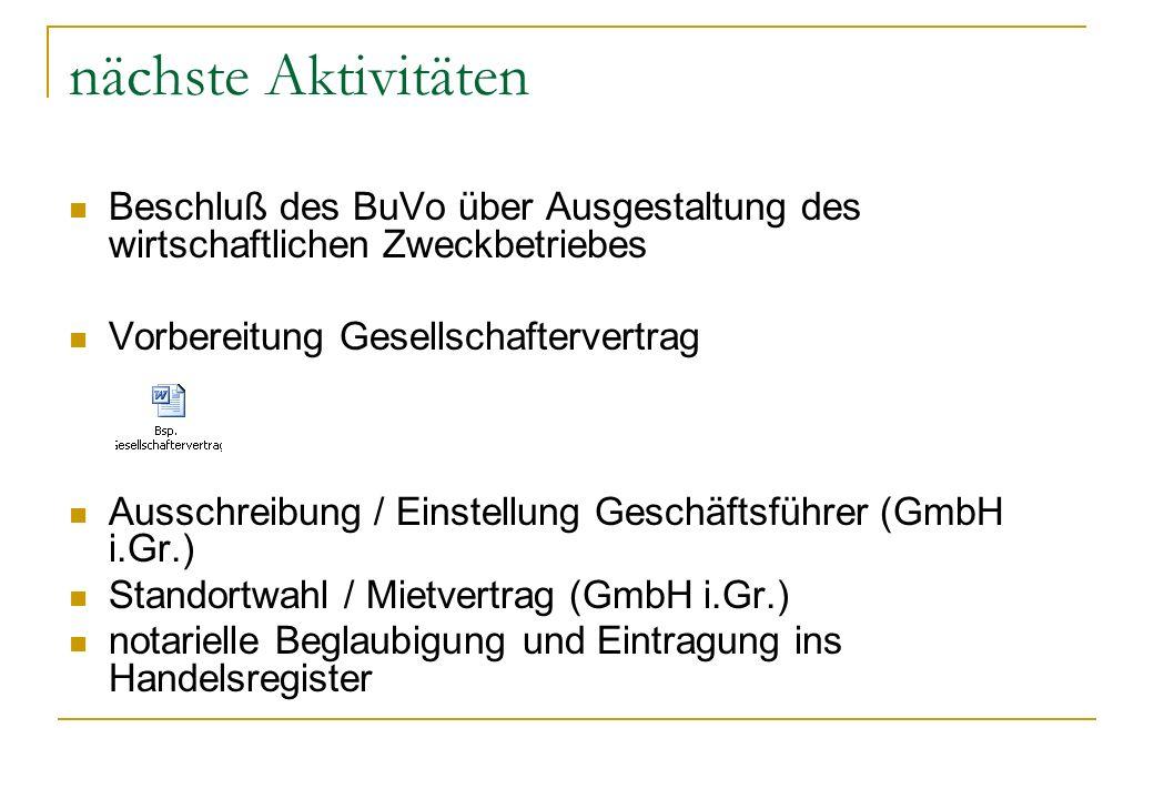 nächste Aktivitäten Beschluß des BuVo über Ausgestaltung des wirtschaftlichen Zweckbetriebes. Vorbereitung Gesellschaftervertrag.