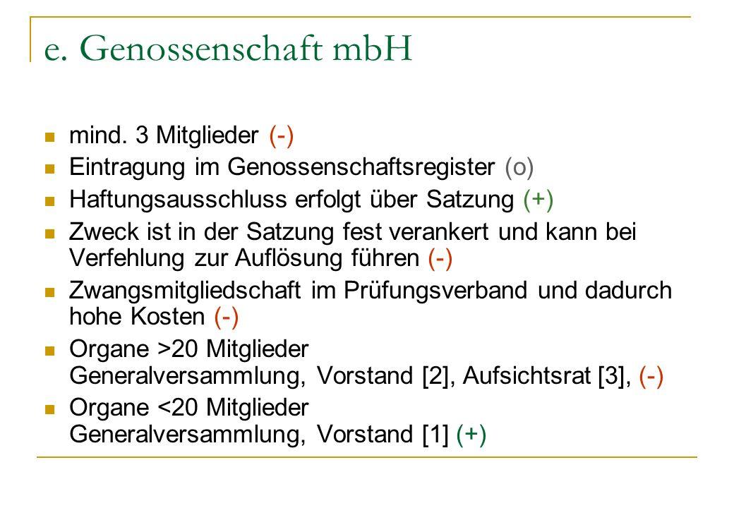 e. Genossenschaft mbH mind. 3 Mitglieder (-)