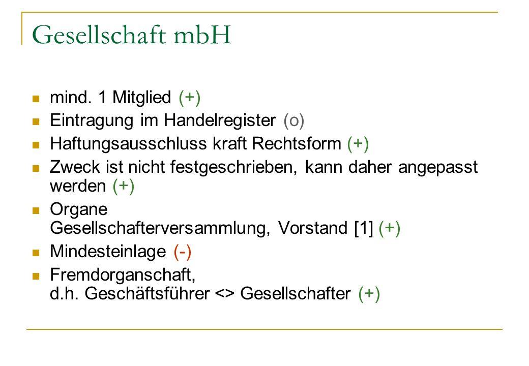 Gesellschaft mbH mind. 1 Mitglied (+) Eintragung im Handelregister (o)