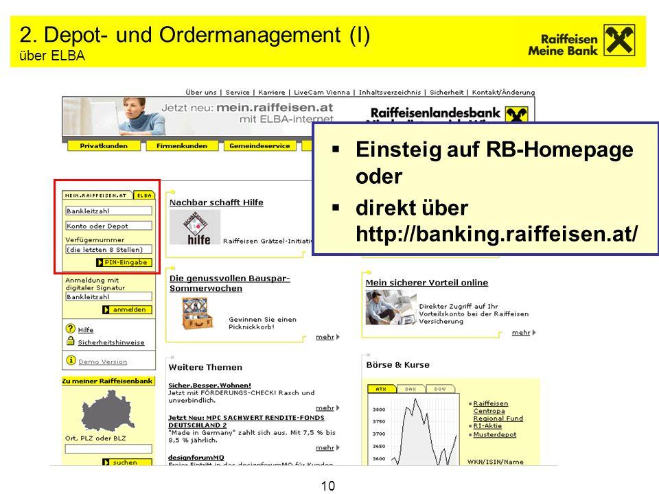 2. Depot- und Ordermanagement (I) über ELBA
