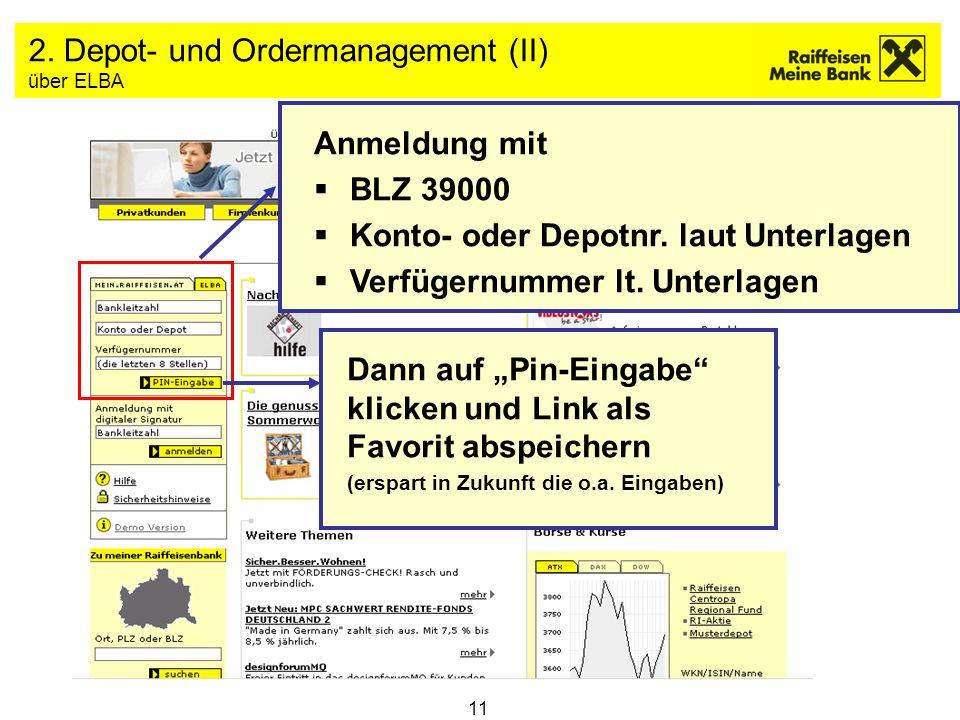2. Depot- und Ordermanagement (II) über ELBA