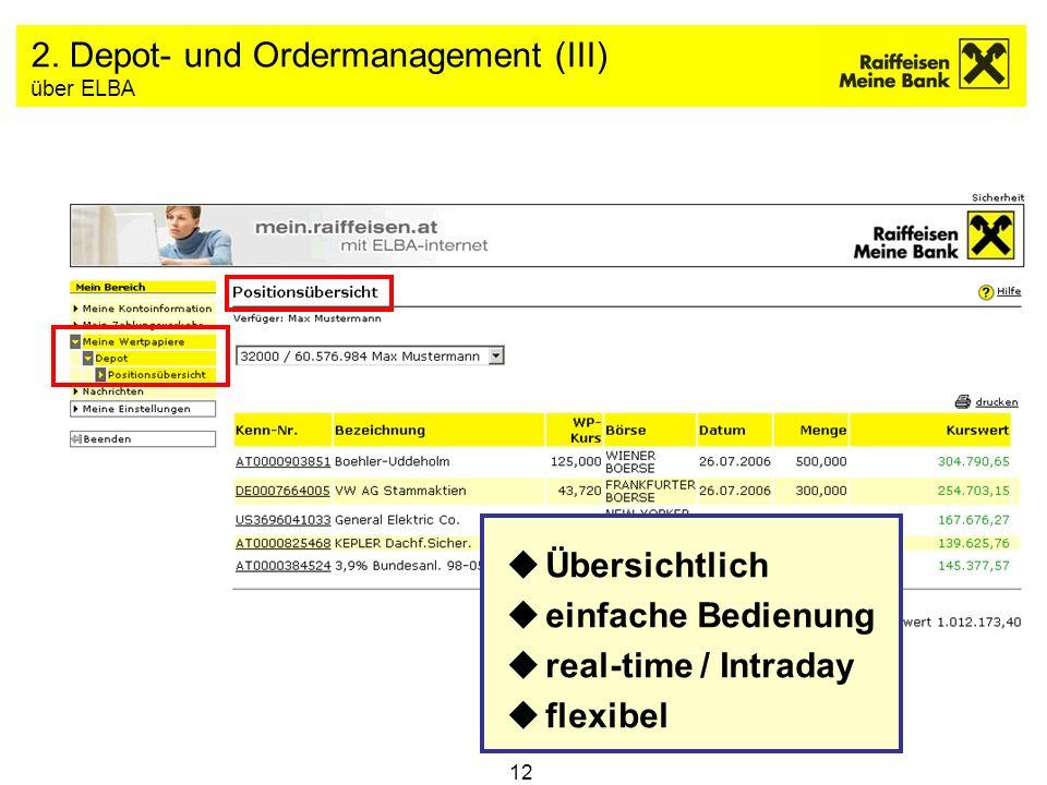 2. Depot- und Ordermanagement (III) über ELBA