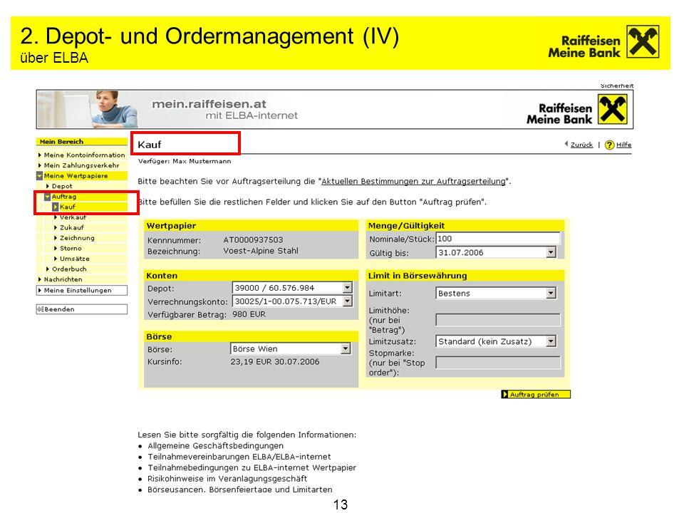 2. Depot- und Ordermanagement (IV) über ELBA