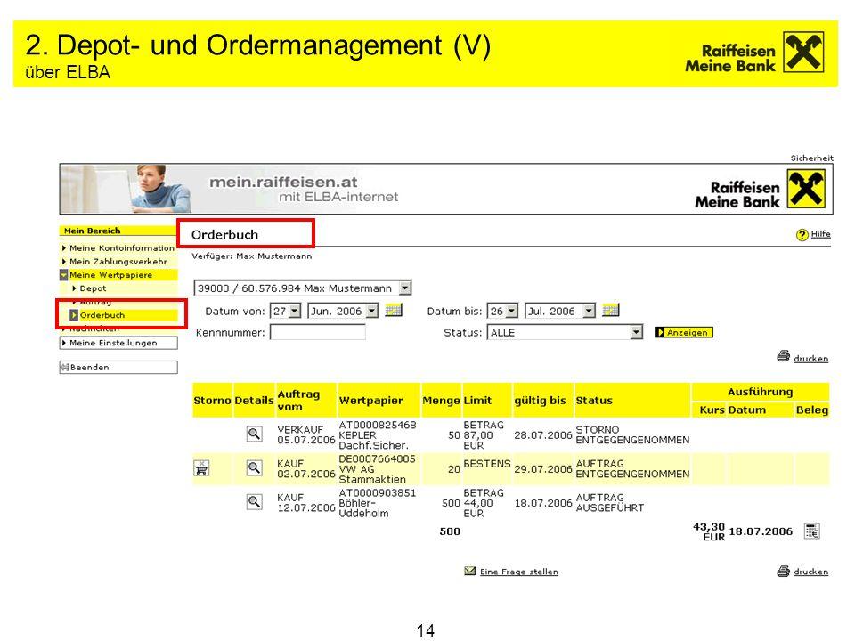 2. Depot- und Ordermanagement (V) über ELBA
